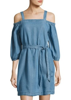 Neiman Marcus Off-the-Shoulder Tie-Waist Dress