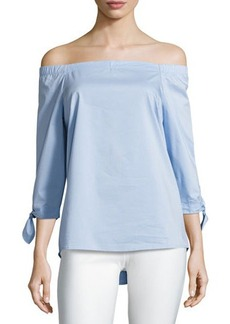 Neiman Marcus Off-the-Shoulder Woven Blouse