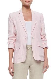 Neiman Marcus One-Button Linen Blazer