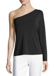 Neiman Marcus One-Shoulder Jersey Blouse