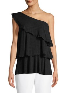 Neiman Marcus One-Shoulder Ruffle Top
