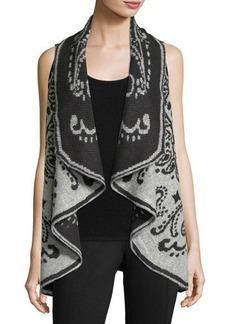 Neiman Marcus Open-Front Patterned Boucle Vest