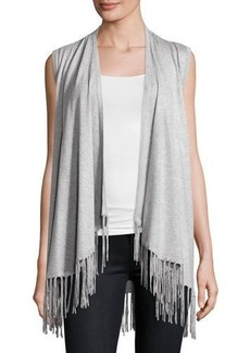 Neiman Marcus Open-Front Vest with Fringe Trim