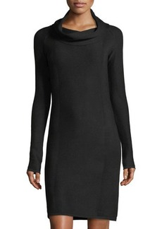 Neiman Marcus Ottoman Cowl-Neck Long-Sleeve Dress