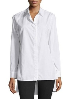 Neiman Marcus Oversized High-Low Cotton Blouse