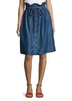 Neiman Marcus Paper Bag-Waist Button-Front Skirt