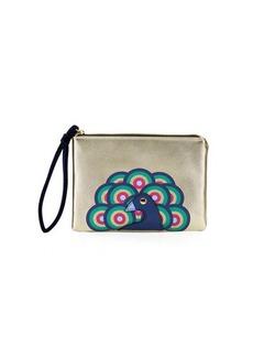 Neiman Marcus Peacock Wristlet Pouch Bag