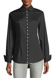 Neiman Marcus Pearlescent Button-Down Top