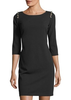 Neiman Marcus Pearlescent-Shoulder Sheath Dress