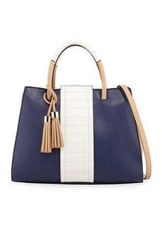 Neiman Marcus Peek-A-Boo Colorblock Satchel Bag