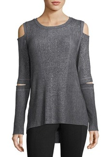 Neiman Marcus Peekaboo-Elbow Cold-Shoulder Sweater