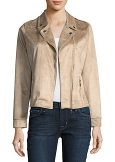 Neiman Marcus Perforated Faux-Suede Moto Jacket