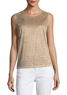 Neiman Marcus Perforated Faux-Suede Top