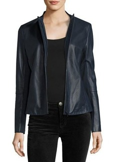 Neiman Marcus Perforated Zip-Front Leather Jacket