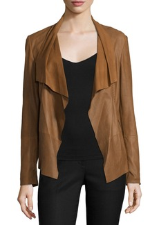 Neiman Marcus Pick-Stitch Draped-Front Suede Jacket