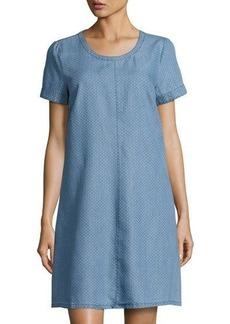 Neiman Marcus Pin-Dot Short-Sleeve Shift Dress