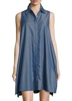 Neiman Marcus Pinstriped Chambray Trapeze Dress