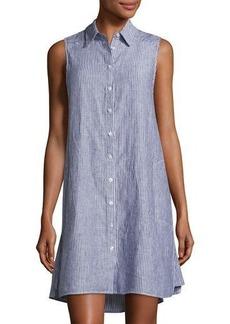 Neiman Marcus Pinstriped High-Low Linen Tabard Dress