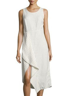 Neiman Marcus Pinstriped Scoop-Neck Linen Dress