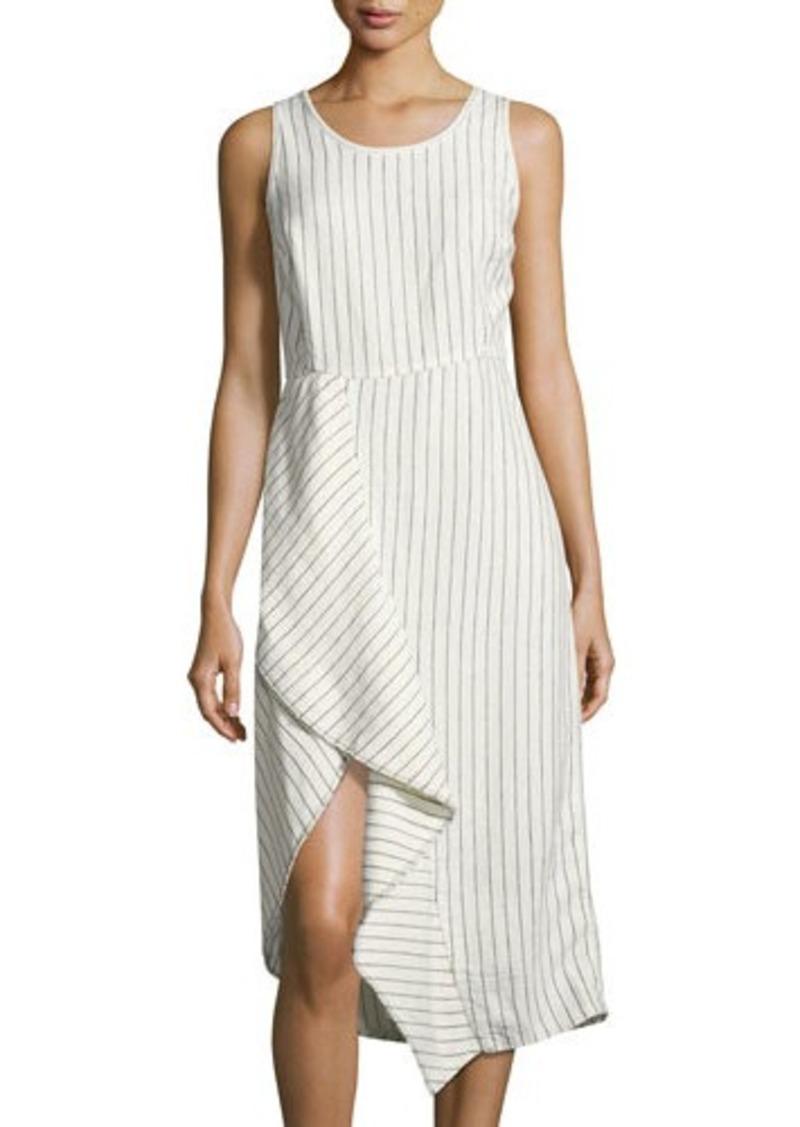 4163c40224 Neiman Marcus Neiman Marcus Pinstriped Scoop-Neck Linen Dress