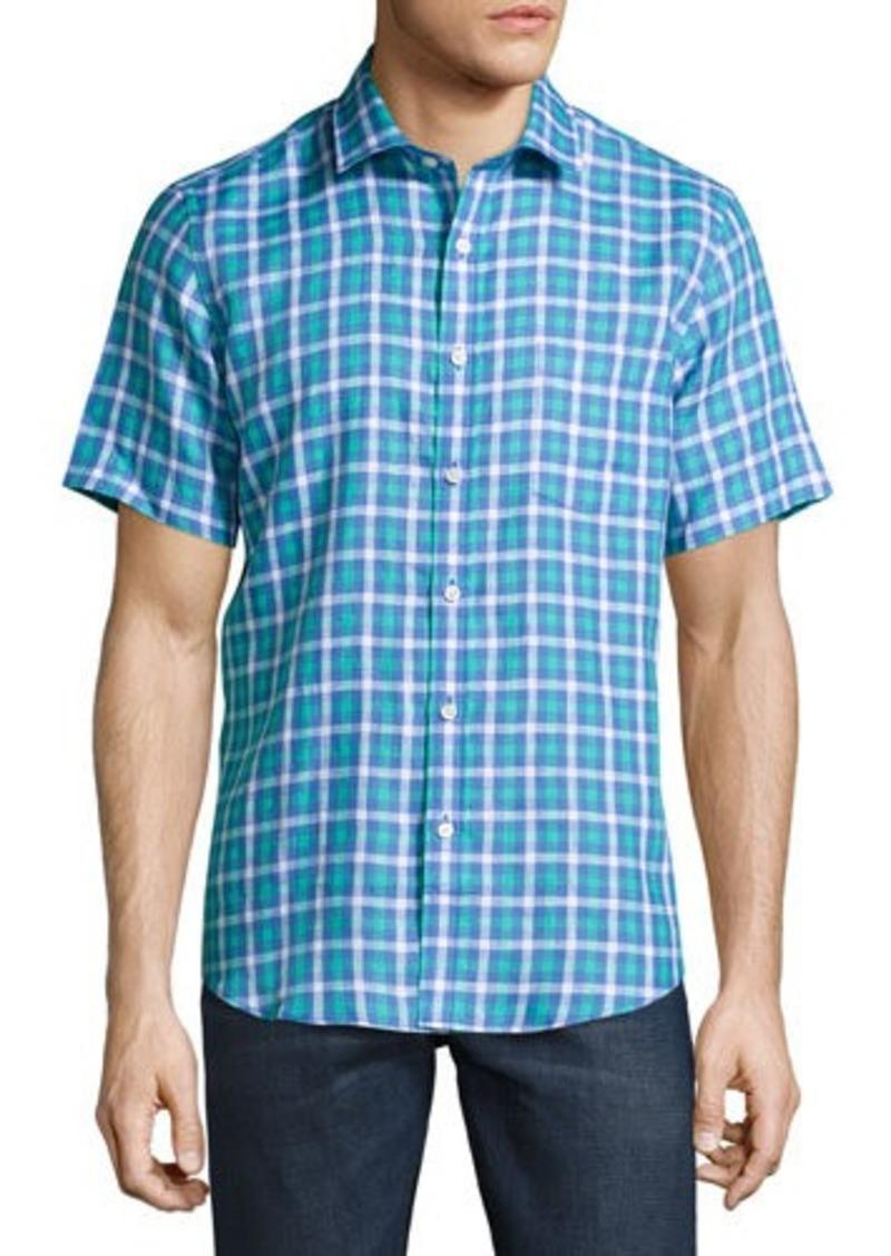 Neiman Marcus Plaid Linen Short-Sleeve Sport Shirt
