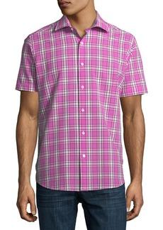 Neiman Marcus Plaid Seersucker Short-Sleeve Sport Shirt