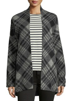 Neiman Marcus Plaid Wool Cardigan