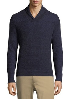 Neiman Marcus Plaited-Knit Shawl-Collar Sweater