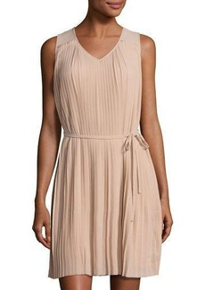 Neiman Marcus Pleated Chiffon Shift Dress