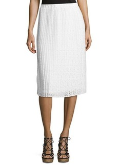 Neiman Marcus Pleated Floral-Lace Midi Skirt