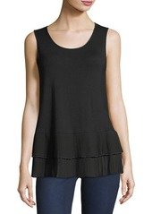 Neiman Marcus Pleated-Trim Jersey Tank