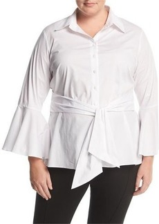 Neiman Marcus Plus Bell-Sleeve Belted Blouse