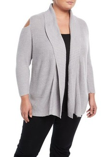 Neiman Marcus Plus Cold-Shoulder Rib-Knit Cardigan