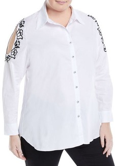 Neiman Marcus Plus Embroidered Cold-Shoulder Blouse