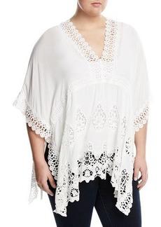 Neiman Marcus Plus Empire-Waist Crochet-Trimmed Blouse