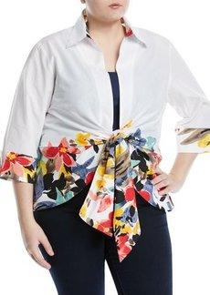 Neiman Marcus Plus Floral-Border Tie-Front Blouse