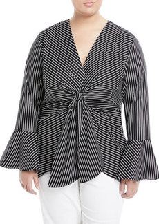 Neiman Marcus Plus Knotted Bell-Sleeve Top