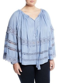Neiman Marcus Plus Off-The-Shoulder Boho Tasseled Blouse