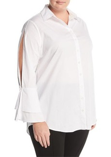 Neiman Marcus Plus Split-Sleeve Poplin Blouse