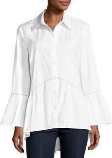 Neiman Marcus Poet Lace-Inset Shirt