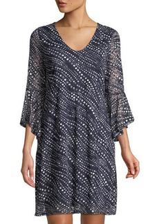 Neiman Marcus Polka-Dot Lace Bell-Sleeve Dress