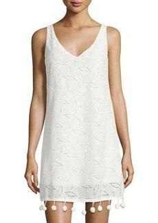 Neiman Marcus Pompom-Trim V-Neck Lace Dress