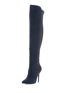 Neiman Marcus Power Suede Over-The-Knee Stretch Boot