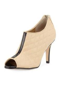 Neiman Marcus Prenia Quilted Peep-Toe Bootie
