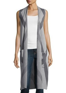 Neiman Marcus Printed Long Knit Vest