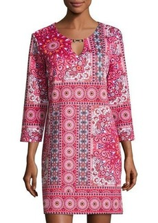 Neiman Marcus Printed Scuba 3/4-Sleeve Dress