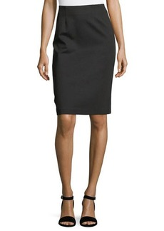 Neiman Marcus Pull-On Ponté Pencil Skirt