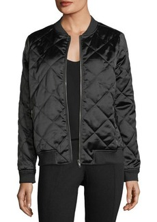 Neiman Marcus Quilted Satin Bomber Jacket
