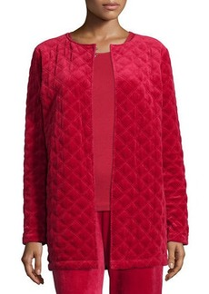 Neiman Marcus Quilted Velour Topper Jacket