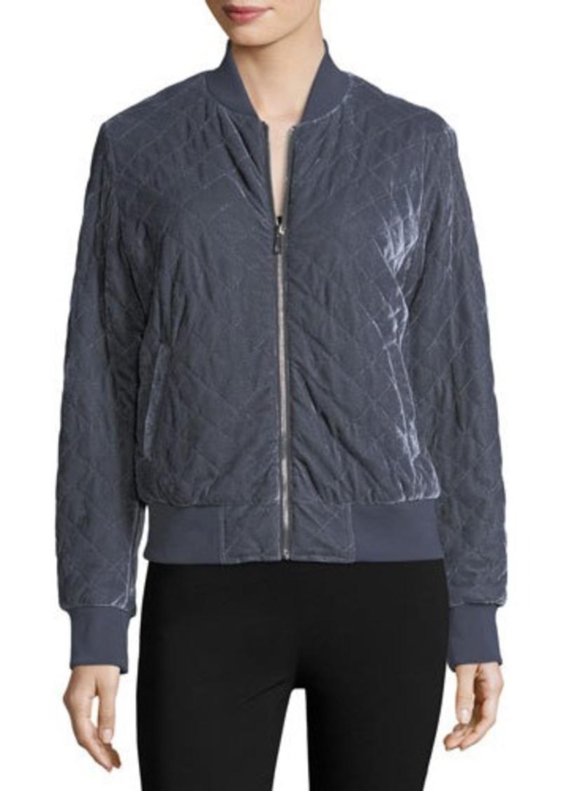 Neiman Marcus Quilted Velvet Bomber Jacket